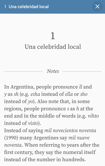 Screenshot of Lupa app with a description of the Argentinian accent and dialect.