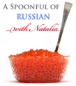 """An image of a bowl of caviar and the text, """"A Spoonful of Russian with Natalia."""""""