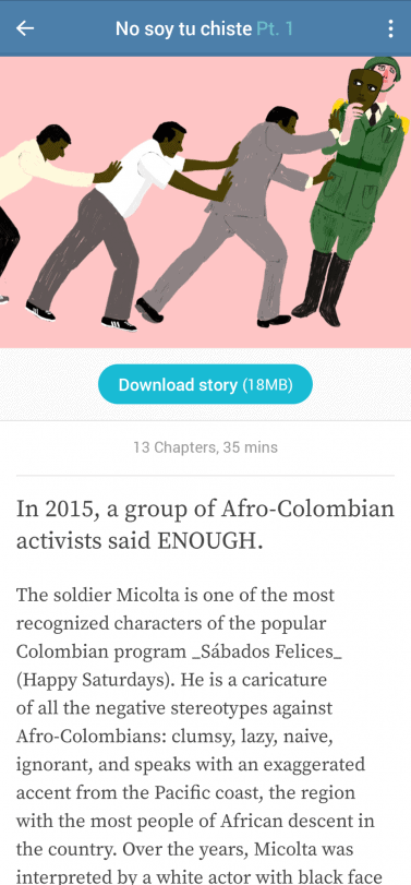 Screenshot of Lupa app and the story No soy tu chiste