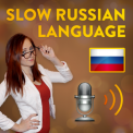 Image of Daria from Real Russian club next to a microphone and a Russian flag.