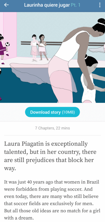 Screenshot of Lupa app with description of the story Laurinha quiere jugar