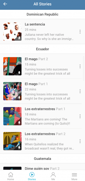 Screenshot of Lupa app with stories organised by country; there is 1 story for the Dominican Republic and 4 for Ecuador