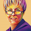 A portrait-style painting of Michele Berdy, host of The Word's Worth podcast.