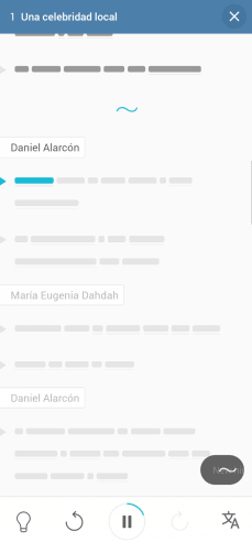 A screenshot of the Lupa app with the transcript hidden