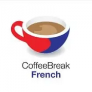"""Cartoon coffee cup with the words """"Coffee Break French"""" below it"""