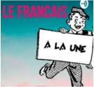 """Text that reads, """"Le français"""" and a boy holding a sign that reads, """"à la une"""""""