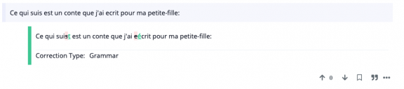 """A French sentence with corrections highlighted in red and green. Text below reads, """"Correction type: grammar"""""""