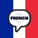 """A speech bubble with the text, """"Daily French Pod"""" on top of the French flag"""