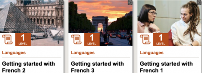 """Three images of the L'ouvre, a street in Paris, and two people talking. Text reads """"getting started with French 1, 2, and 3"""" under each image."""