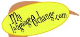 "Yellow circle with text that reads, ""Mylangaugeexchange.com"""