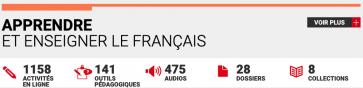 """Text reads: """"1158 activités en ligne, 141 outils pédagogiques, 475 audios, 28 dossiers, 8 collections"""""""