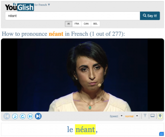 """Text reads, """"How to pronounce néant in French (1 out of 277)"""" with a video of a woman speaking below. Subtitle below the video reads, """"le néant."""""""