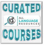 """Earth under a magnifying class with the text, """"All Language Resources Curated Courses"""""""
