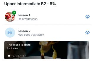 """Text reads, """"Upper intermediate B2 - 5%"""". Two subheadings read, """"Lesson 1, I'm a vegetarian,"""" and """"Lesson 2, How does that taste?"""""""