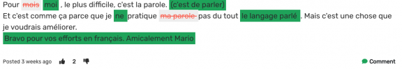 A paragraph in French with corrections highlighted in red and green
