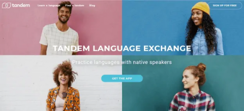 """Four people smiling in four separate boxes. Text reads, """"Tandem language exchange"""" and """"Practice languages with native speakers""""."""