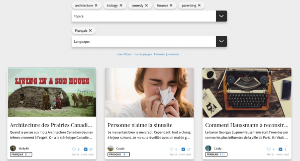 Dashboard of the Journaly app with two search boxes: one for topics and one for languages.