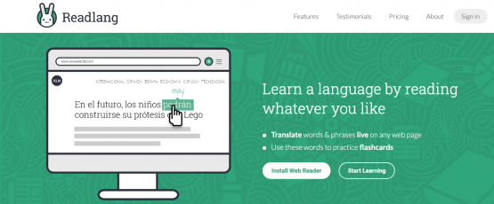 """Computer mouse clicking a Spanish word on a webpage with English word highlighted above it. Text beside it reads, """"Learn a language by reading whatever you like. Translate words & phrases live on any web page. Use the words to practice flashcards""""."""
