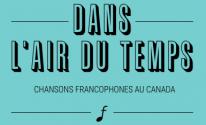 "Text reads, ""Dans l'air du temps"" on a turquoise background"