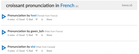 "Text reads, ""Croissant pronunciation"" with three pronunciation recordings below."