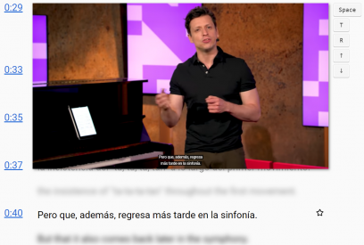 Screenshot of a video playing on CaptionPop with Spanish subtitles alongside blurred English subtitles.