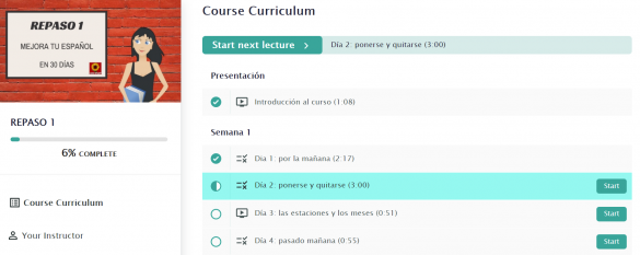 Screenshot of the Repaso 1 course showing the first week of lessons in the course curriculum.