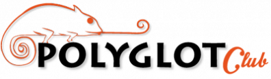 """A depiction of an orange chameleon rests on top of the text, """"Polyglot Club."""""""