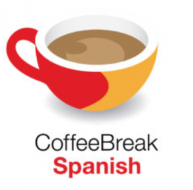 """An image of a red and yellow coffee mug above the text, """"CoffeeBreak Spanish."""""""