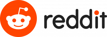 """The reddit logo of an alien with an oval head and antenna against an orange background appears next to the text, """"reddit"""" in lowercase letters."""