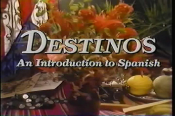 """The text, """"Destinos An Introduction to Spanish"""" appears in white on an image of colorful flowers."""