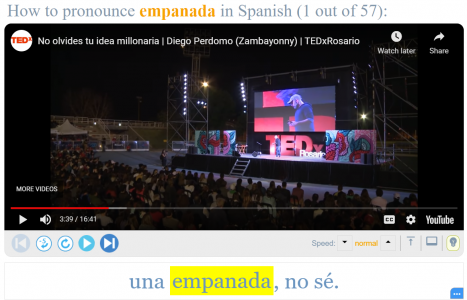 """A screenshot of a video that uses the Spanish word, """"empanada."""""""