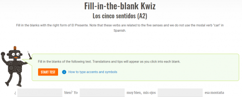 """Screenshot of a """"Fill-in-the-blank Kwiz"""" exercise at the A2 level."""