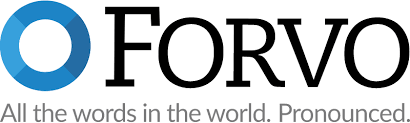 """A blue circle appears next to the name """"FORVO"""" in black. Underneath is the text, """"All the words int he world. Pronounced."""""""