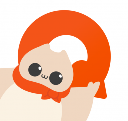 """A depiction of a cartoon squirrel in front of an orange letter """"Q."""""""