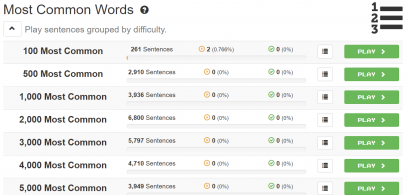 """A screenshot showing a list of """"Most Common Words"""" decks on Clozemaster."""