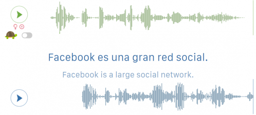 """Screenshot showing two waveforms of audio recordings and the text, """"Facebook is a large social network"""" in English and Spanish."""