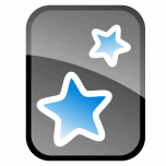 A black and grey rectangle with blue stars in the middle.