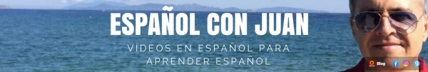 """Banner with a picture of the sea in the background, Juan's face on the right-hand side. In the middle appears the text, """"Español con Juan"""" in white."""