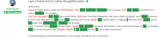 A screenshot of text marked with corrections in OPLingo's correction tool.