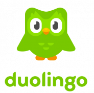 """A green cartoon owl appears over the word """"duolingo"""" also in green."""